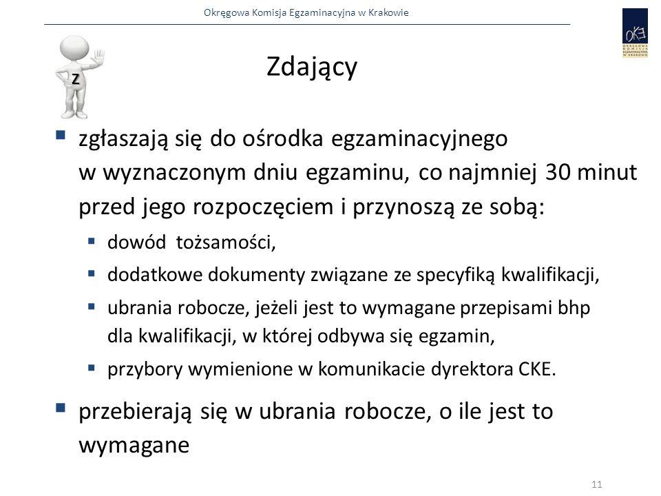 Okręgowa Komisja Egzaminacyjna w Krakowie Zdający  zgłaszają się do ośrodka egzaminacyjnego w wyznaczonym dniu egzaminu, co najmniej 30 minut przed jego rozpoczęciem i przynoszą ze sobą:  dowód tożsamości,  dodatkowe dokumenty związane ze specyfiką kwalifikacji,  ubrania robocze, jeżeli jest to wymagane przepisami bhp dla kwalifikacji, w której odbywa się egzamin,  przybory wymienione w komunikacie dyrektora CKE.