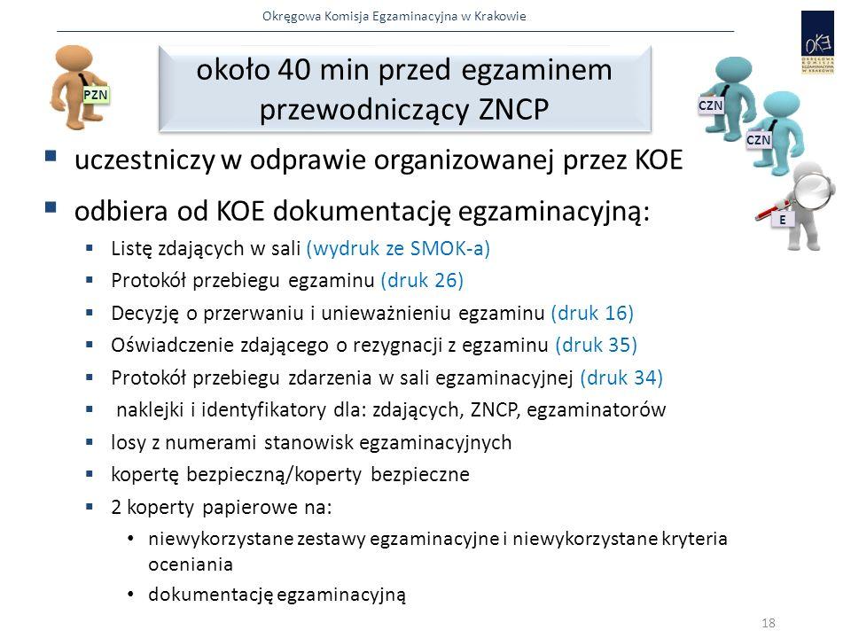 Okręgowa Komisja Egzaminacyjna w Krakowie  uczestniczy w odprawie organizowanej przez KOE  odbiera od KOE dokumentację egzaminacyjną:  Listę zdających w sali (wydruk ze SMOK-a)  Protokół przebiegu egzaminu (druk 26)  Decyzję o przerwaniu i unieważnieniu egzaminu (druk 16)  Oświadczenie zdającego o rezygnacji z egzaminu (druk 35)  Protokół przebiegu zdarzenia w sali egzaminacyjnej (druk 34)  naklejki i identyfikatory dla: zdających, ZNCP, egzaminatorów  losy z numerami stanowisk egzaminacyjnych  kopertę bezpieczną/koperty bezpieczne  2 koperty papierowe na: niewykorzystane zestawy egzaminacyjne i niewykorzystane kryteria oceniania dokumentację egzaminacyjną około 40 min przed egzaminem przewodniczący ZNCP około 40 min przed egzaminem przewodniczący ZNCP 18 PZN E E CZN