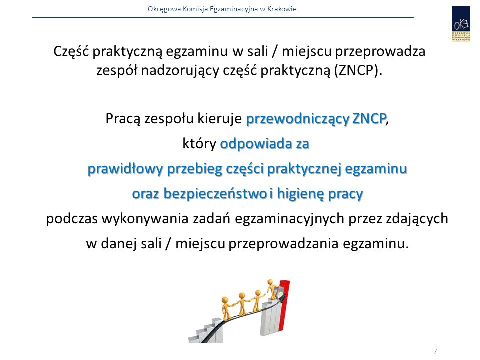 Okręgowa Komisja Egzaminacyjna w Krakowie ogłasza i zapisuje w widocznym miejscu:  czas, przeznaczony na zapoznanie się przez zdających ze stanowiskiem i z materiałami egzaminacyjnymi Po zakończeniu czynności organizacyjnych przewodniczący lub członek ZN Po zakończeniu czynności organizacyjnych przewodniczący lub członek ZN 28 PZN  godzinę rozpoczęcia i zakończenia egzaminu