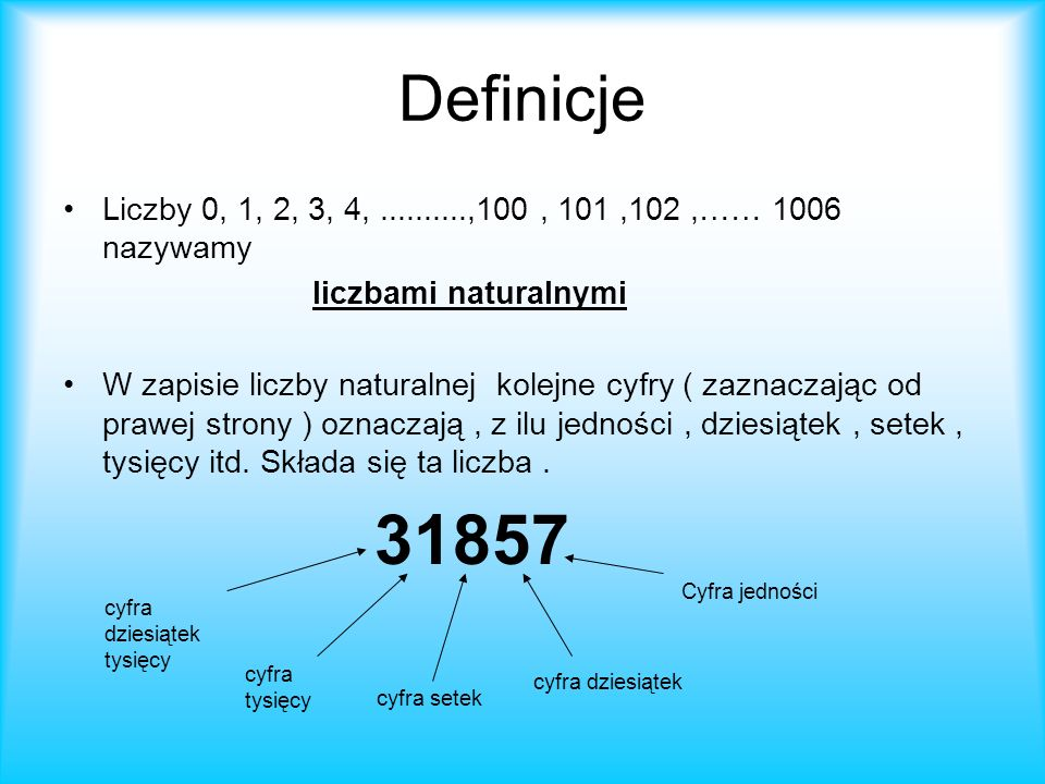 Definicje Liczby 0, 1, 2, 3, 4,..........,100, 101,102,…… 1006 nazywamy liczbami naturalnymi W zapisie liczby naturalnej kolejne cyfry ( zaznaczając od prawej strony ) oznaczają, z ilu jedności, dziesiątek, setek, tysięcy itd.