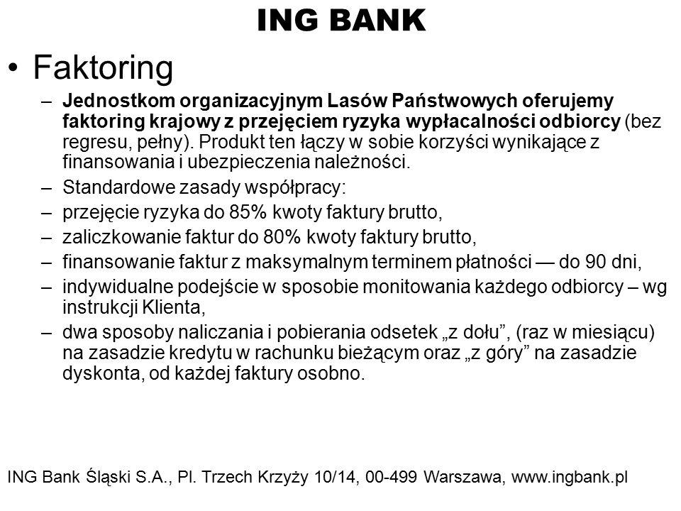 ING BANK Faktoring –Jednostkom organizacyjnym Lasów Państwowych oferujemy faktoring krajowy z przejęciem ryzyka wypłacalności odbiorcy (bez regresu, pełny).