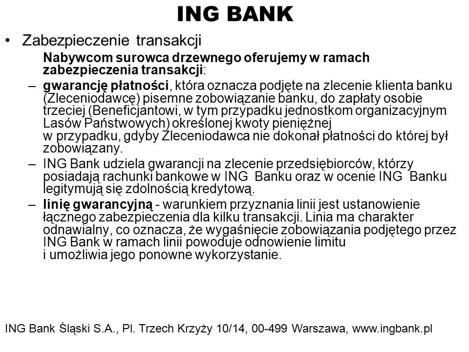 ING BANK Zabezpieczenie transakcji Nabywcom surowca drzewnego oferujemy w ramach zabezpieczenia transakcji: –gwarancję płatności, która oznacza podjęte na zlecenie klienta banku (Zleceniodawcę) pisemne zobowiązanie banku, do zapłaty osobie trzeciej (Beneficjantowi, w tym przypadku jednostkom organizacyjnym Lasów Państwowych) określonej kwoty pieniężnej w przypadku, gdyby Zleceniodawca nie dokonał płatności do której był zobowiązany.
