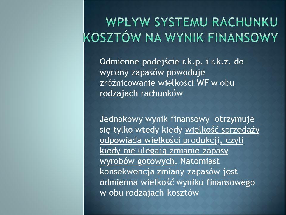 Odmienne podejście r.k.p. i r.k.z. do wyceny zapasów powoduje zróżnicowanie wielkości WF w obu rodzajach rachunków Jednakowy wynik finansowy otrzymuje
