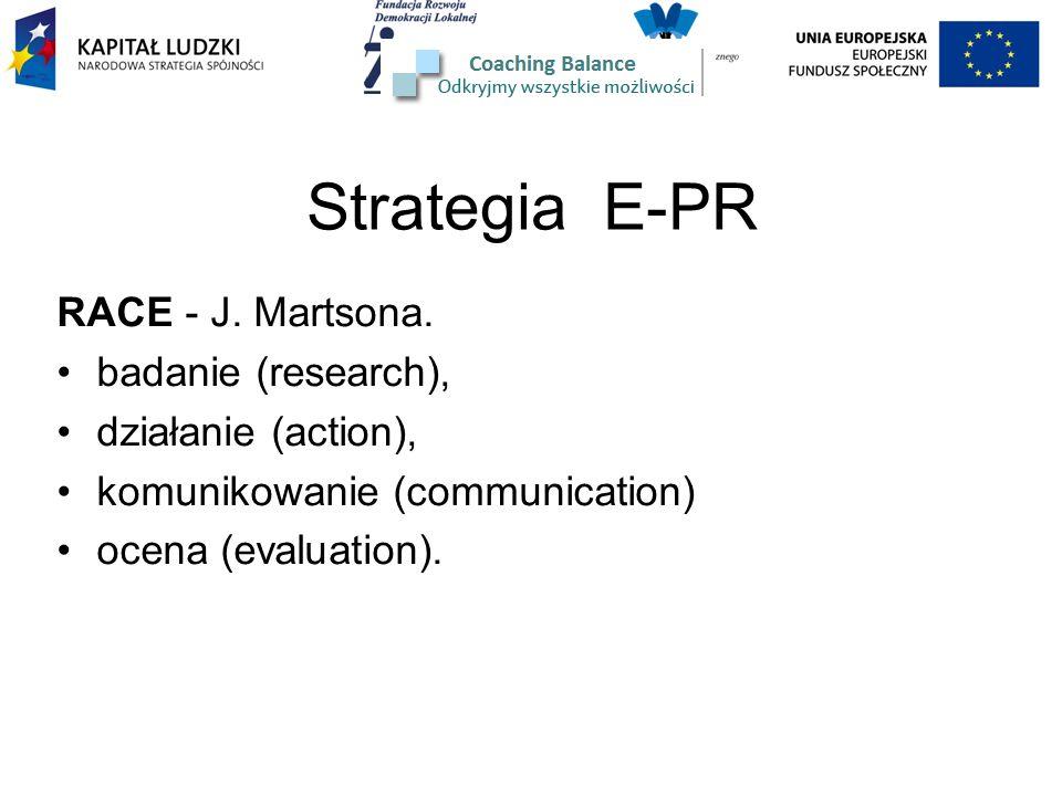 Strategia E-PR RACE - J. Martsona. badanie (research), działanie (action), komunikowanie (communication) ocena (evaluation).