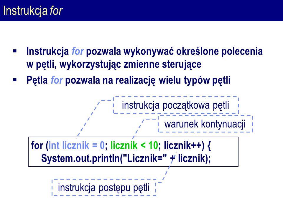 Instrukcja for  Instrukcja for pozwala wykonywać określone polecenia w pętli, wykorzystując zmienne sterujące  Pętla for pozwala na realizację wielu typów pętli for (int licznik = 0; licznik < 10; licznik++) { System.out.println( Licznik= + licznik); instrukcja początkowa pętli warunek kontynuacji instrukcja postępu pętli