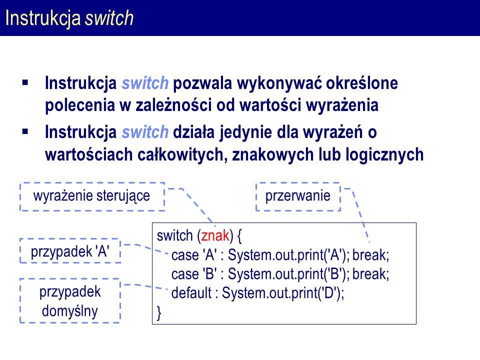 Instrukcja switch  Instrukcja switch pozwala wykonywać określone polecenia w zależności od wartości wyrażenia  Instrukcja switch działa jedynie dla wyrażeń o wartościach całkowitych, znakowych lub logicznych switch (znak) { case A : System.out.print( A ); break; case B : System.out.print( B ); break; default : System.out.print( D ); } wyrażenie sterujące przypadek A przypadek domyślny przerwanie