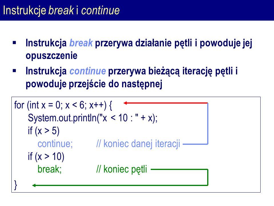 Instrukcje break i continue for (int x = 0; x 5) continue; // koniec danej iteracji if (x > 10) break;// koniec pętli }  Instrukcja break przerywa działanie pętli i powoduje jej opuszczenie  Instrukcja continue przerywa bieżącą iterację pętli i powoduje przejście do następnej