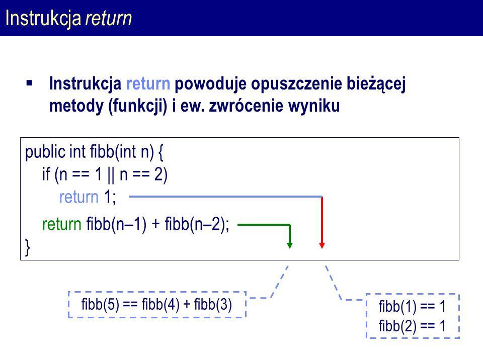 Instrukcja return public int fibb(int n) { if (n == 1 || n == 2) return 1; return fibb(n–1) + fibb(n–2); } fibb(1) == 1 fibb(2) == 1 fibb(5) == fibb(4) + fibb(3)  Instrukcja return powoduje opuszczenie bieżącej metody (funkcji) i ew.