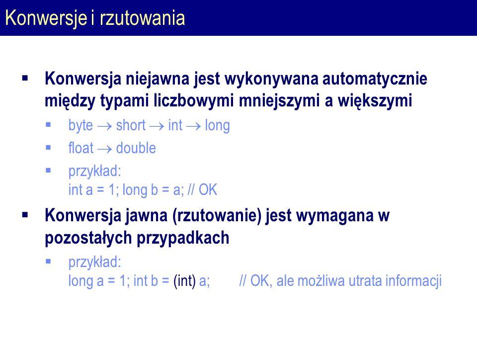 Konwersje i rzutowania  Konwersja niejawna jest wykonywana automatycznie między typami liczbowymi mniejszymi a większymi  byte  short  int  long  float  double  przykład: int a = 1; long b = a; // OK  Konwersja jawna (rzutowanie) jest wymagana w pozostałych przypadkach  przykład: long a = 1; int b = (int) a; // OK, ale możliwa utrata informacji