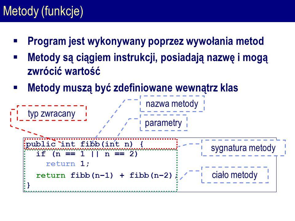 Metody (funkcje)  Program jest wykonywany poprzez wywołania metod  Metody są ciągiem instrukcji, posiadają nazwę i mogą zwrócić wartość  Metody muszą być zdefiniowane wewnątrz klas public int fibb(int n) { if (n == 1 || n == 2) return 1; return fibb(n–1) + fibb(n–2); } parametry nazwa metody typ zwracany ciało metody sygnatura metody