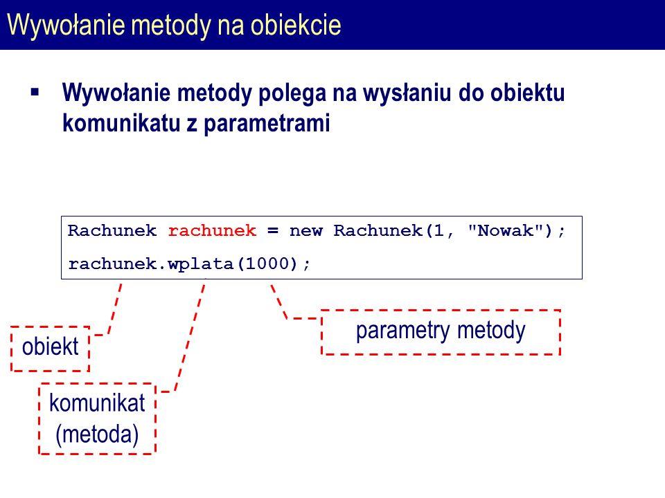 Wywołanie metody na obiekcie Rachunek rachunek = new Rachunek(1, Nowak ); rachunek.wplata(1000); parametry metody obiekt komunikat (metoda)  Wywołanie metody polega na wysłaniu do obiektu komunikatu z parametrami