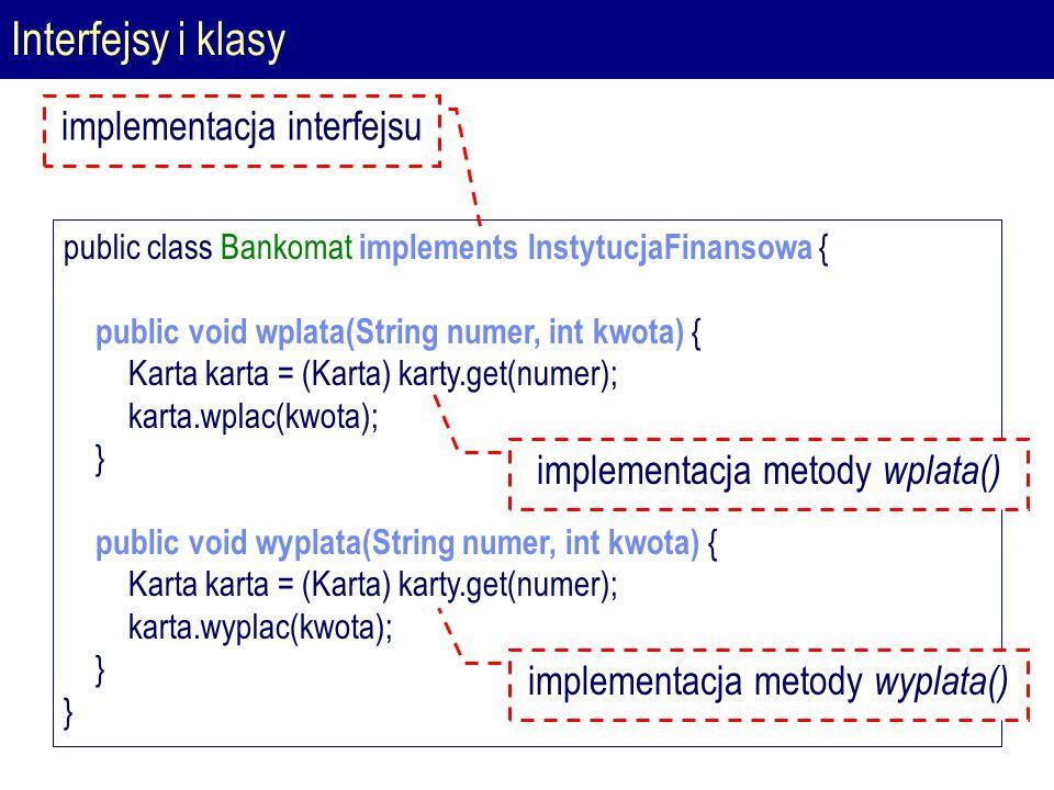 Interfejsy i klasy public class Bankomat implements InstytucjaFinansowa { public void wplata(String numer, int kwota) { Karta karta = (Karta) karty.get(numer); karta.wplac(kwota); } public void wyplata(String numer, int kwota) { Karta karta = (Karta) karty.get(numer); karta.wyplac(kwota); } implementacja interfejsu implementacja metody wplata() implementacja metody wyplata()
