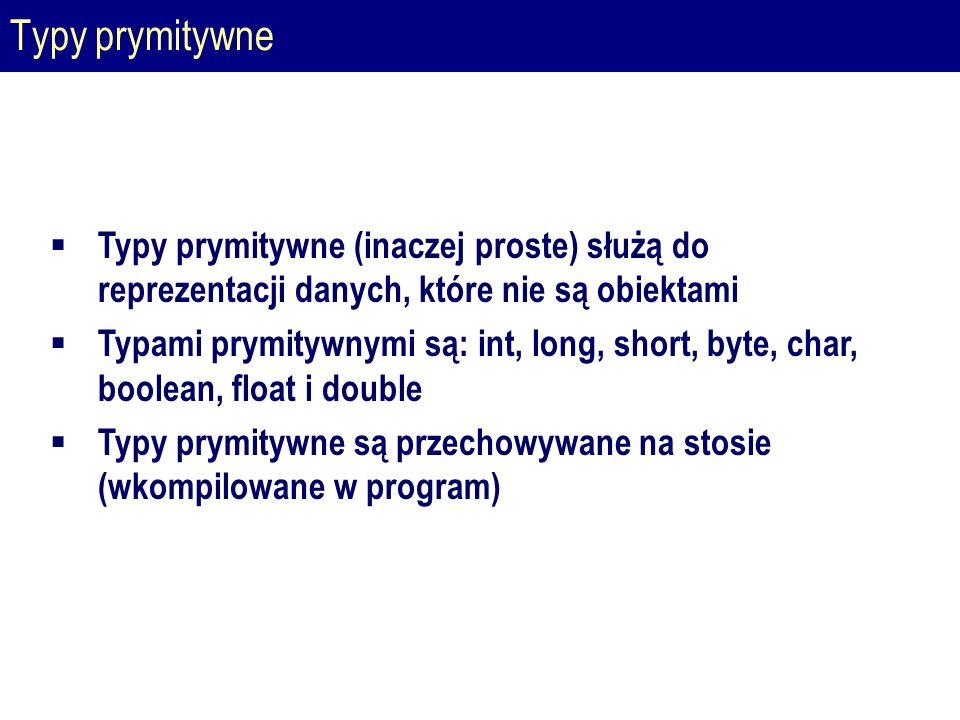 Typy prymitywne  Typy prymitywne (inaczej proste) służą do reprezentacji danych, które nie są obiektami  Typami prymitywnymi są: int, long, short, byte, char, boolean, float i double  Typy prymitywne są przechowywane na stosie (wkompilowane w program)
