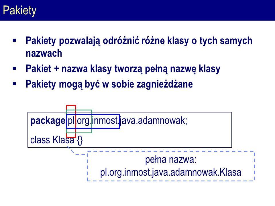 Pakiety  Pakiety pozwalają odróżnić różne klasy o tych samych nazwach  Pakiet + nazwa klasy tworzą pełną nazwę klasy  Pakiety mogą być w sobie zagnieżdżane package pl.org.inmost.java.adamnowak; class Klasa {} pełna nazwa: pl.org.inmost.java.adamnowak.Klasa
