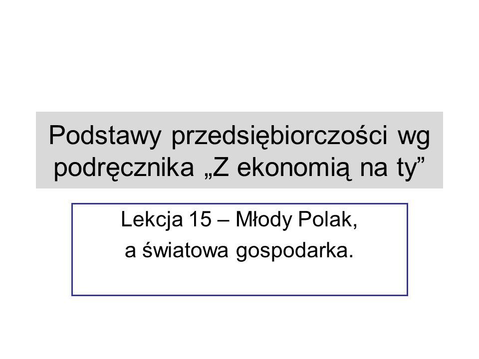 """Podstawy przedsiębiorczości wg podręcznika """"Z ekonomią na ty Lekcja 15 – Młody Polak, a światowa gospodarka."""