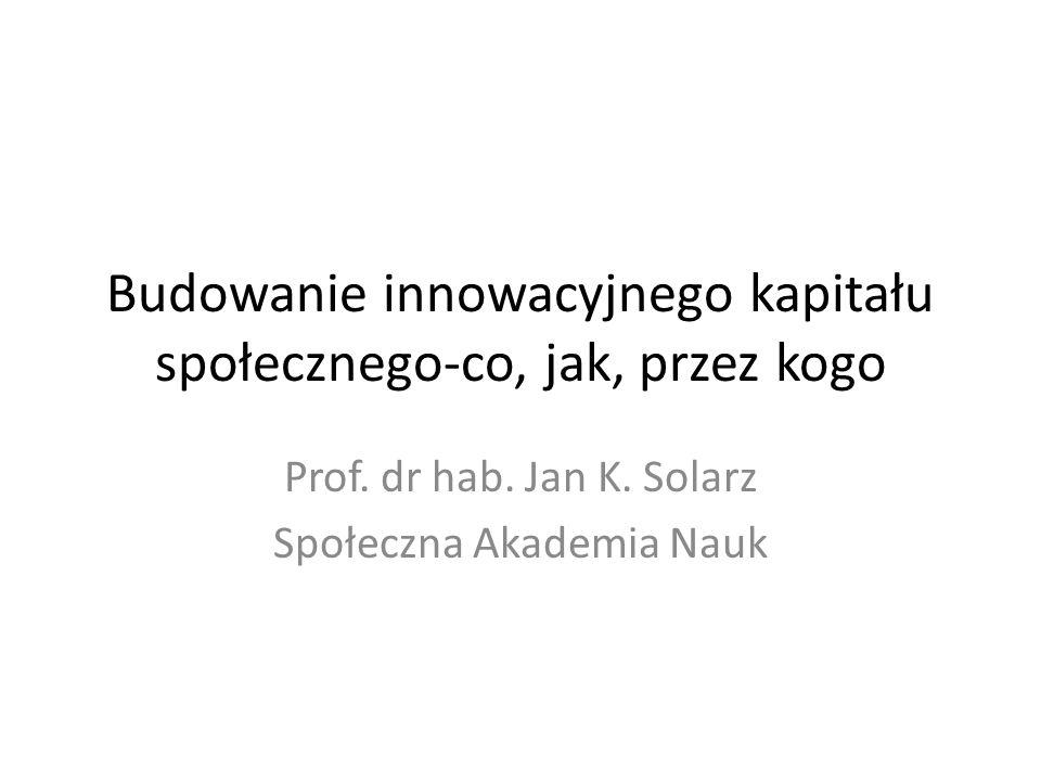Budowanie innowacyjnego kapitału społecznego-co, jak, przez kogo Prof.