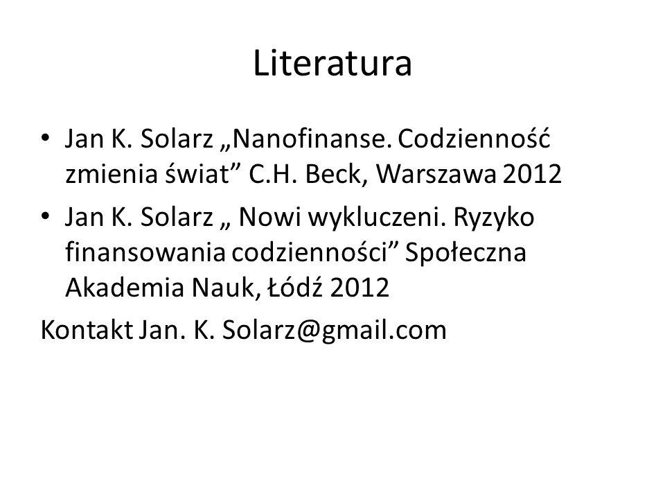 """Literatura Jan K. Solarz """"Nanofinanse. Codzienność zmienia świat C.H."""