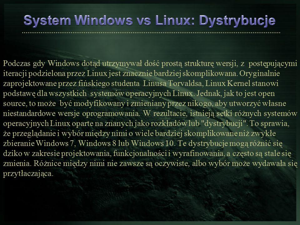 Podczas gdy Windows dotąd utrzymywał dość prostą strukturę wersji, z postępującymi iteracji podzielona przez Linux jest znacznie bardziej skomplikowan