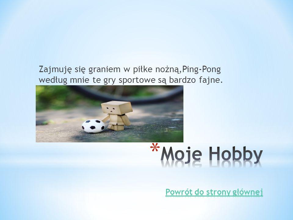 Zajmuję się graniem w piłke nożną,Ping-Pong według mnie te gry sportowe są bardzo fajne.