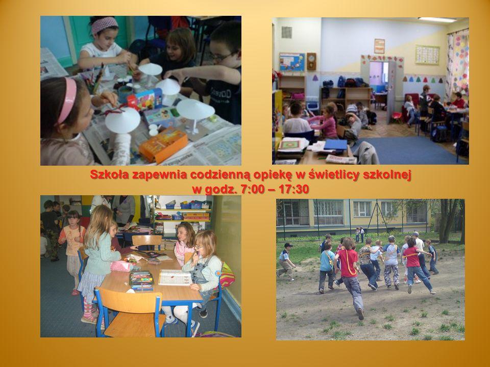 Szkoła zapewnia codzienną opiekę w świetlicy szkolnej w godz. 7:00 – 17:30