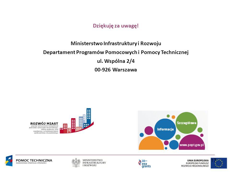 17 Dziękuję za uwagę! Ministerstwo Infrastruktury i Rozwoju Departament Programów Pomocowych i Pomocy Technicznej ul. Wspólna 2/4 00-926 Warszawa