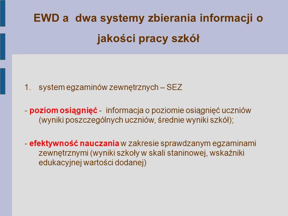 EWD a dwa systemy zbierania informacji o jakości pracy szkół 1.system egzaminów zewnętrznych – SEZ - poziom osiągnięć - informacja o poziomie osiągnię