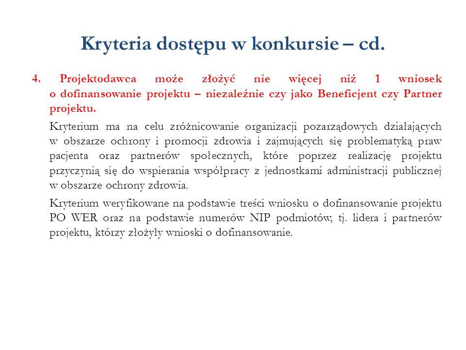 Kryteria dostępu w konkursie – cd. 4. Projektodawca może złożyć nie więcej niż 1 wniosek o dofinansowanie projektu – niezależnie czy jako Beneficjent
