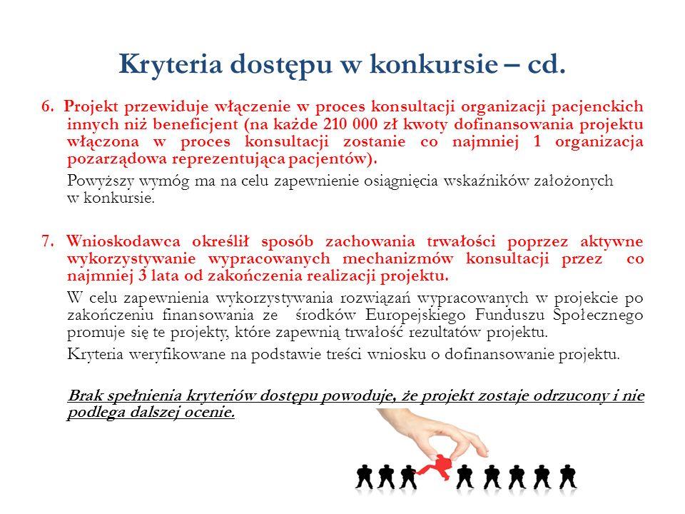 Kryteria dostępu w konkursie – cd. 6. Projekt przewiduje włączenie w proces konsultacji organizacji pacjenckich innych niż beneficjent (na każde 210 0