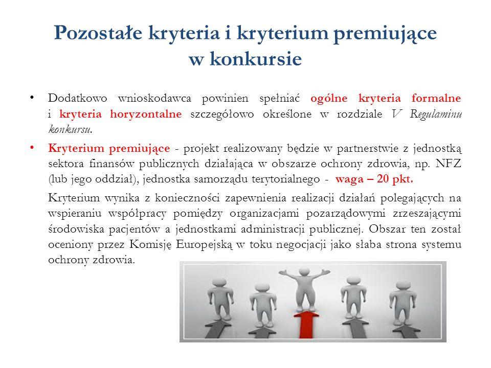 Pozostałe kryteria i kryterium premiujące w konkursie Dodatkowo wnioskodawca powinien spełniać ogólne kryteria formalne i kryteria horyzontalne szczeg