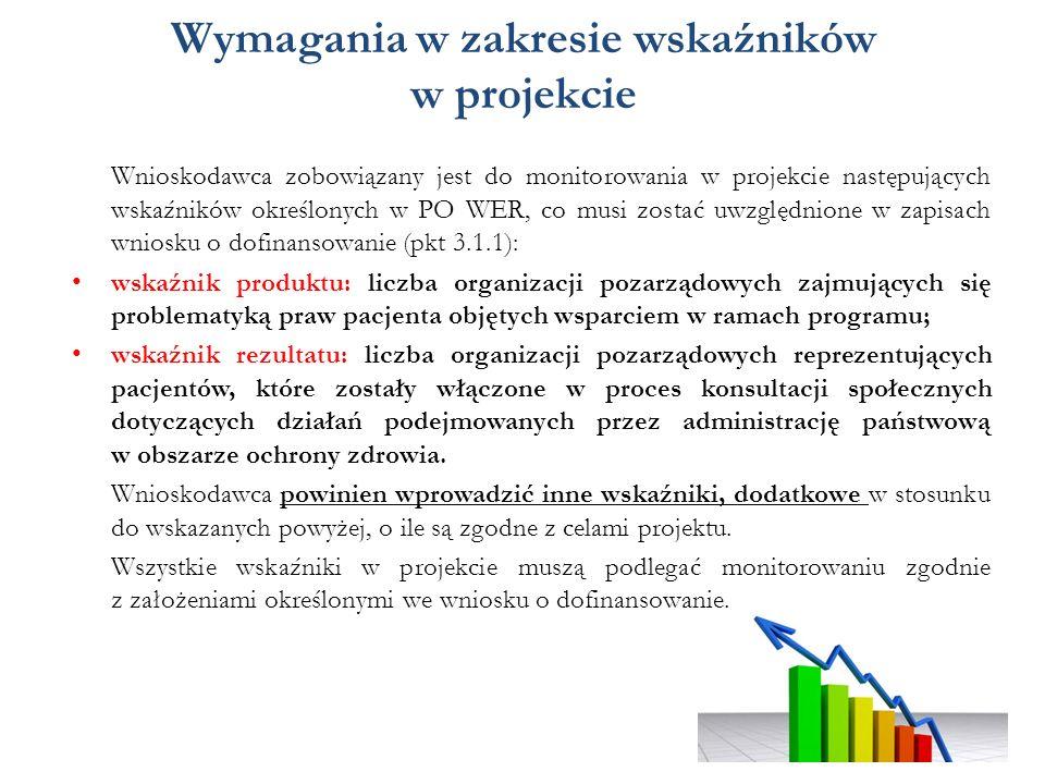 Wymagania w zakresie wskaźników w projekcie Wnioskodawca zobowiązany jest do monitorowania w projekcie następujących wskaźników określonych w PO WER, co musi zostać uwzględnione w zapisach wniosku o dofinansowanie (pkt 3.1.1): wskaźnik produktu: liczba organizacji pozarządowych zajmujących się problematyką praw pacjenta objętych wsparciem w ramach programu; wskaźnik rezultatu: liczba organizacji pozarządowych reprezentujących pacjentów, które zostały włączone w proces konsultacji społecznych dotyczących działań podejmowanych przez administrację państwową w obszarze ochrony zdrowia.