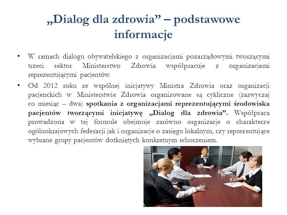 """""""Dialog dla zdrowia – podstawowe informacje W ramach dialogu obywatelskiego z organizacjami pozarządowymi tworzącymi trzeci sektor Ministerstwo Zdrowia współpracuje z organizacjami reprezentującymi pacjentów."""