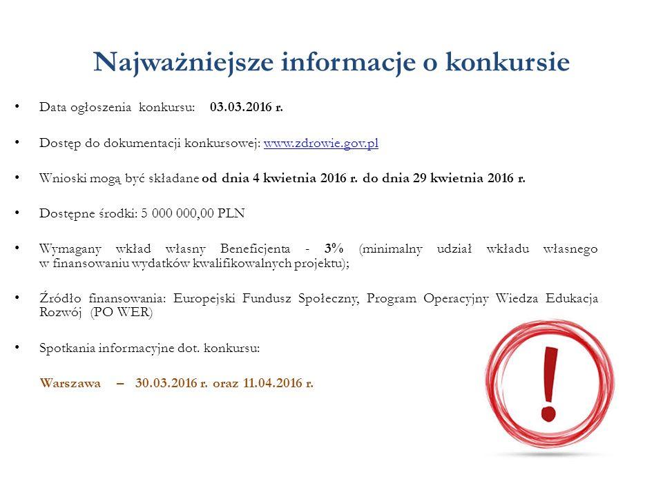 Najważniejsze informacje o konkursie Data ogłoszenia konkursu: 03.03.2016 r. Dostęp do dokumentacji konkursowej: www.zdrowie.gov.plwww.zdrowie.gov.pl