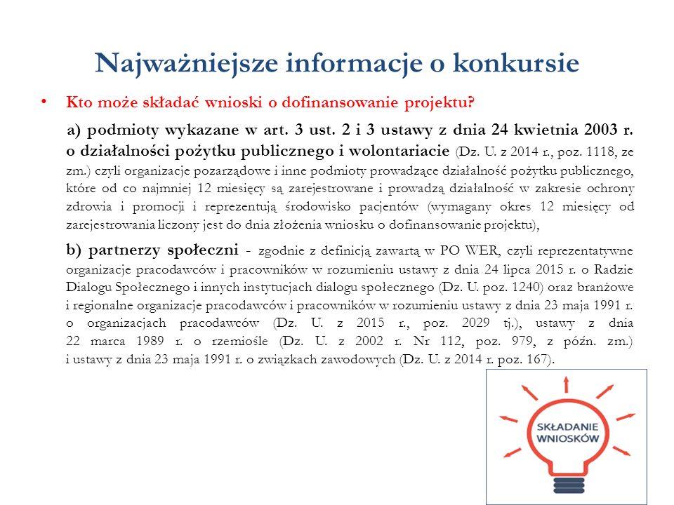 Najważniejsze informacje o konkursie Kto może składać wnioski o dofinansowanie projektu? a) podmioty wykazane w art. 3 ust. 2 i 3 ustawy z dnia 24 kwi