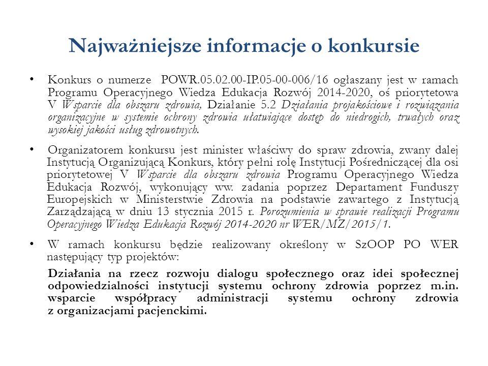 Najważniejsze informacje o konkursie Konkurs o numerze POWR.05.02.00-IP.05-00-006/16 ogłaszany jest w ramach Programu Operacyjnego Wiedza Edukacja Roz