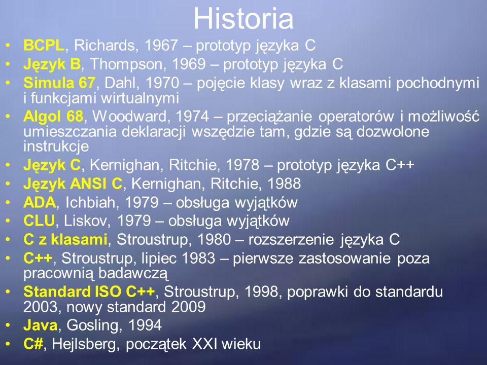 Historia BCPL, Richards, 1967 – prototyp języka C Język B, Thompson, 1969 – prototyp języka C Simula 67, Dahl, 1970 – pojęcie klasy wraz z klasami pochodnymi i funkcjami wirtualnymi Algol 68, Woodward, 1974 – przeciążanie operatorów i możliwość umieszczania deklaracji wszędzie tam, gdzie są dozwolone instrukcje Język C, Kernighan, Ritchie, 1978 – prototyp języka C++ Język ANSI C, Kernighan, Ritchie, 1988 ADA, Ichbiah, 1979 – obsługa wyjątków CLU, Liskov, 1979 – obsługa wyjątków C z klasami, Stroustrup, 1980 – rozszerzenie języka C C++, Stroustrup, lipiec 1983 – pierwsze zastosowanie poza pracownią badawczą Standard ISO C++, Stroustrup, 1998, poprawki do standardu 2003, nowy standard 2009 Java, Gosling, 1994 C#, Hejlsberg, początek XXI wieku