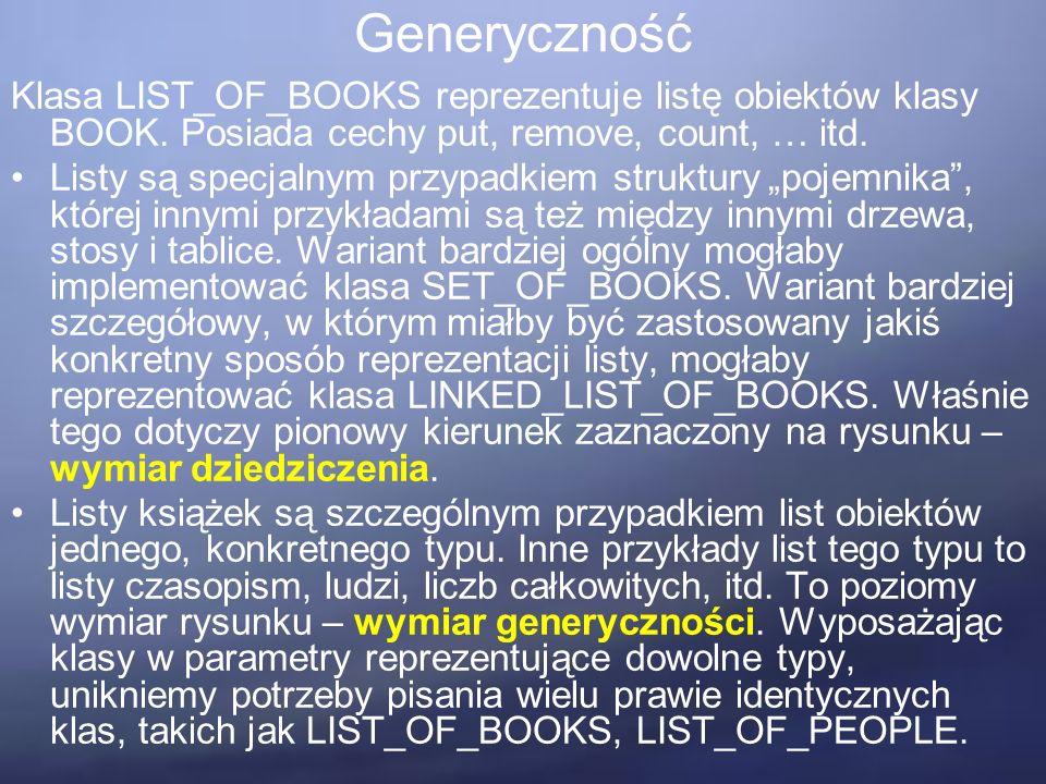 Generyczność Klasa LIST_OF_BOOKS reprezentuje listę obiektów klasy BOOK.