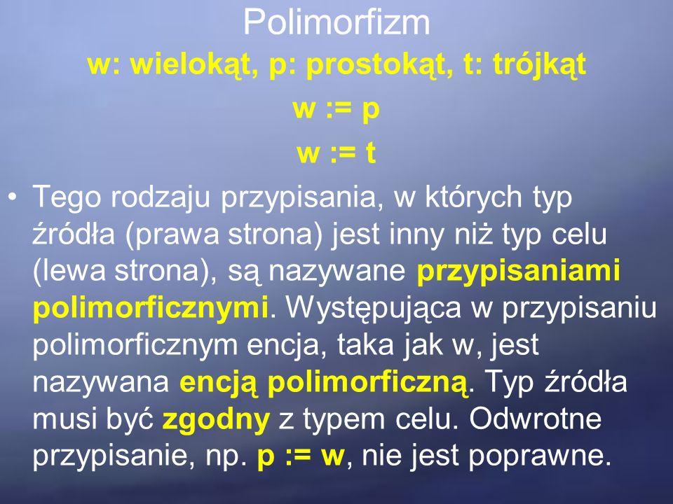 Polimorfizm w: wielokąt, p: prostokąt, t: trójkąt w := p w := t Tego rodzaju przypisania, w których typ źródła (prawa strona) jest inny niż typ celu (lewa strona), są nazywane przypisaniami polimorficznymi.
