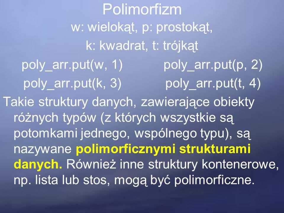 Polimorfizm w: wielokąt, p: prostokąt, k: kwadrat, t: trójkąt poly_arr.put(w, 1)poly_arr.put(p, 2) poly_arr.put(k, 3)poly_arr.put(t, 4) Takie struktury danych, zawierające obiekty różnych typów (z których wszystkie są potomkami jednego, wspólnego typu), są nazywane polimorficznymi strukturami danych.