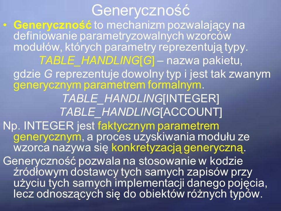 Generyczność Generyczność to mechanizm pozwalający na definiowanie parametryzowalnych wzorców modułów, których parametry reprezentują typy.