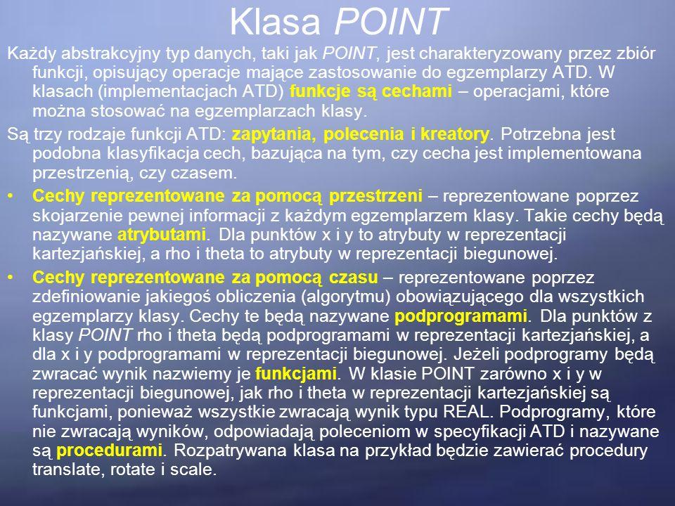 Klasa POINT Każdy abstrakcyjny typ danych, taki jak POINT, jest charakteryzowany przez zbiór funkcji, opisujący operacje mające zastosowanie do egzemplarzy ATD.