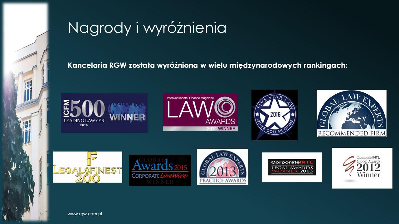 Nagrody i wyróżnienia Kancelaria RGW została wyróżniona w wielu międzynarodowych rankingach: www.rgw.com.pl