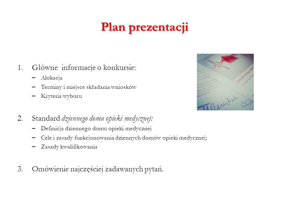 Plan prezentacji 1.Główne informacje o konkursie: – Alokacja – Terminy i miejsce składania wniosków – Kryteria wyboru 2.Standard dziennego domu opieki