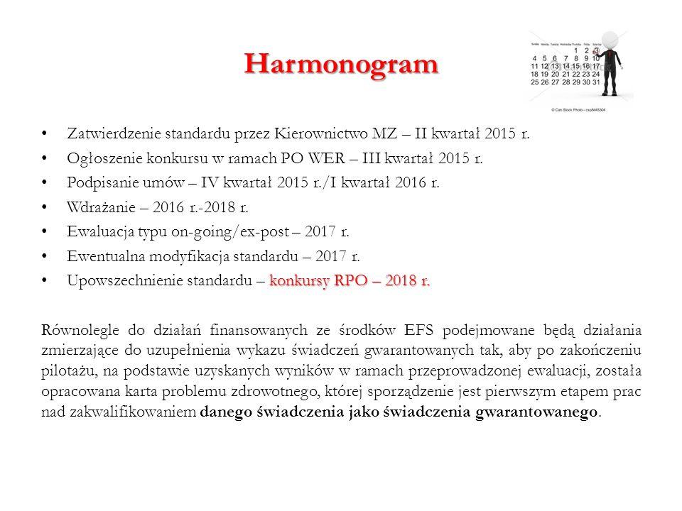 Harmonogram Zatwierdzenie standardu przez Kierownictwo MZ – II kwartał 2015 r. Ogłoszenie konkursu w ramach PO WER – III kwartał 2015 r. Podpisanie um