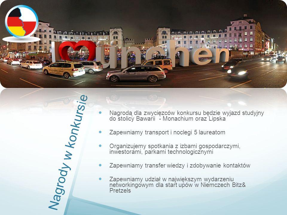Nagrody w konkursie Nagrodą dla zwycięzców konkursu będzie wyjazd studyjny do stolicy Bawarii - Monachium oraz Lipska Zapewniamy transport i noclegi 5 laureatom Organizujemy spotkania z izbami gospodarczymi, inwestorami, parkami technologicznymi Zapewniamy transfer wiedzy i zdobywanie kontaktów Zapewniamy udział w największym wydarzeniu networkingowym dla start upów w Niemczech Bitz& Pretzels