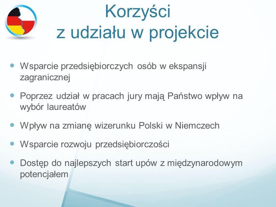 Korzyści z udziału w projekcie Wsparcie przedsiębiorczych osób w ekspansji zagranicznej Poprzez udział w pracach jury mają Państwo wpływ na wybór laureatów Wpływ na zmianę wizerunku Polski w Niemczech Wsparcie rozwoju przedsiębiorczości Dostęp do najlepszych start upów z międzynarodowym potencjałem
