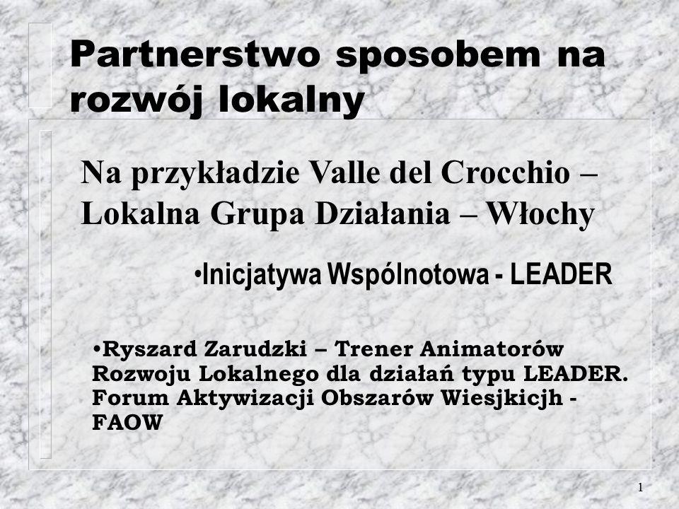 1 Partnerstwo sposobem na rozwój lokalny Na przykładzie Valle del Crocchio – Lokalna Grupa Działania – Włochy Inicjatywa Wspólnotowa - LEADER Ryszard Zarudzki – Trener Animatorów Rozwoju Lokalnego dla działań typu LEADER.