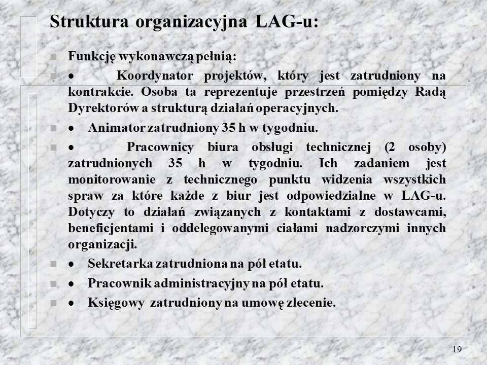 18 Rada Dyrektorów: n określa zadania dla poszczególnych struktur LAG-u, i ustala mierniki efektywności partnerstwa. n Skład Rady odwzorowuje zróżnico