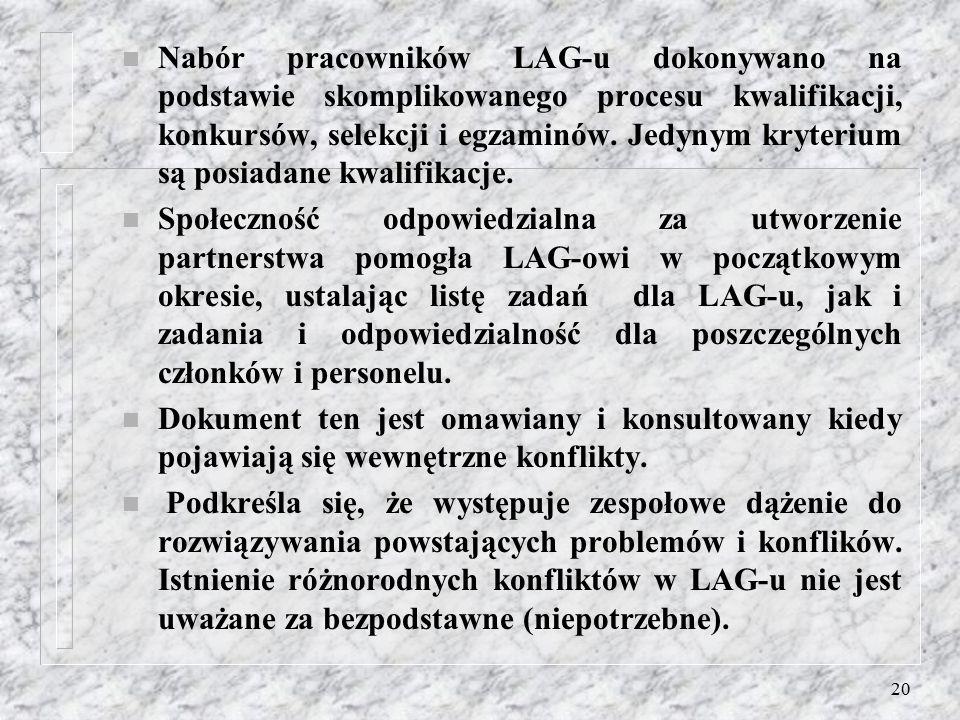 19 Struktura organizacyjna LAG-u: n Funkcję wykonawczą pełnią: n  Koordynator projektów, który jest zatrudniony na kontrakcie. Osoba ta reprezentuje