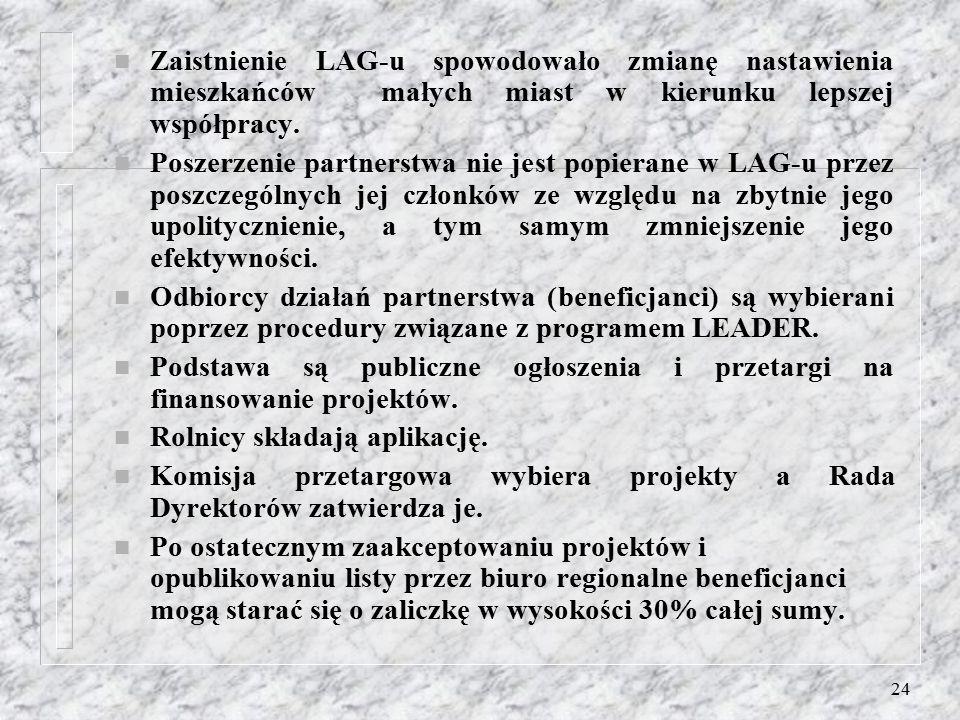 23 n LAG posiada jedno biuro wyposażone w komputer, dostęp do internetu, e-mail, kopiarkę, telefon i fax. n Źródłem posiadanych finansów dla LAG-u są