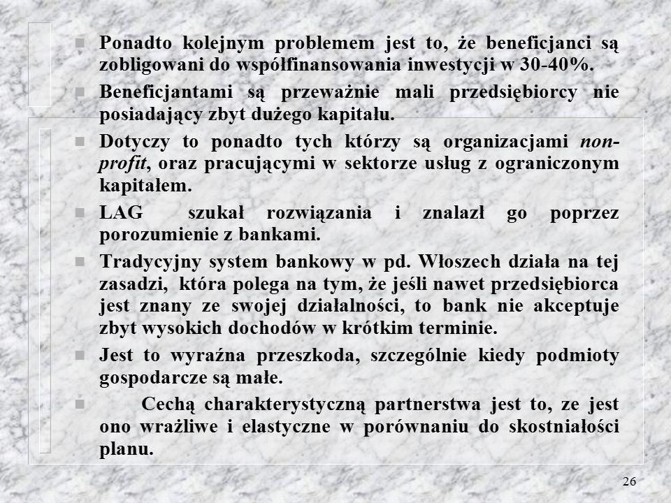 25 n Natomiast zwrot całej gwarantowanej kwoty następuje poprzez dostarczenie faktury. n Kontrola biurokratyczna przeprowadzona poprzez biuro regional